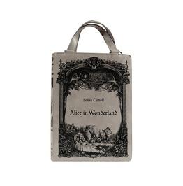 Tiberio Dark Side Alice in Wonderland Book Faux Leather Gothic Lolita Bag