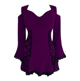 Cold Shoulder Bell Sleeve Royal Purple Side Lacing Mesh Corset Top