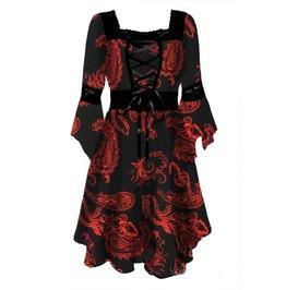 Plus Size 3/4 Flare Sleeve Black Mesh Insert Lace Up Flowy Corset Dress
