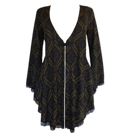 Deep V-neck Trumpet Sleeve Floral Embroidery Asymmetric Hem Knitted Sweater