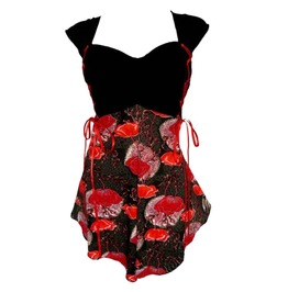 Sweetheart Neckline Black Red Floral Print Lace Up Double Corset Top