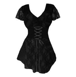 Belt Design Black Floral Mesh Patchwork Cap Sleeve Lace Up Corset Top