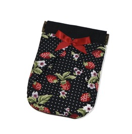 Black Red Strawberries Coin Purse Loli. Red Bow. Rockabilly. Pocket Wallet.
