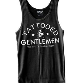 Sexy Skull Tattooed Gentlemen Round Neck Low Arm Cut Slimfit Black Tank Top