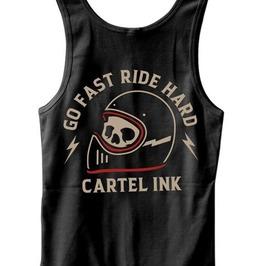 Skull Helmet Go Fast Ride Hard Round Neck Slim-fit Black Cotton Tank Top