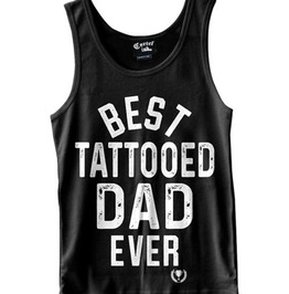 Best Tattooed Dad Breathable Slim Fit Round Neck Basic Casual Tank Top