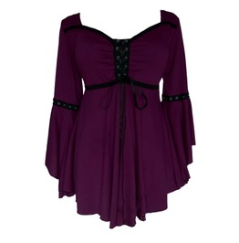 Asymmetric Flare Sleeve Plum Patchwork Lace Up Pleated Corset Top