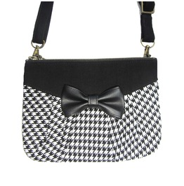 Black And White Houndstooth Bag With Bow. Multifunctional Pouch 3 In 1.