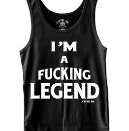 Tattoo Fashion Legend Breathable Round Neck Tight Fit Black Tank Top