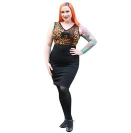 Pin-up Rockabilly Vintage Retro Sleeveless V Neck Knee Length Leopard Print Fitted Pencil Skirt Dress
