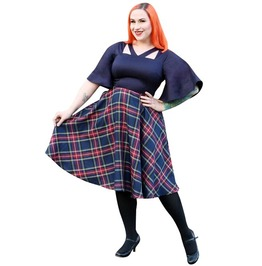 Pin-up Rockabilly Vintage Retro Tartan Pattern V Neckline Half Circle Sleeve Vintage Skirt Dress.