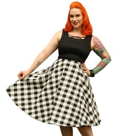 Pin-up Rockabilly Vintage Retro Sleeveless Scoop Neckline Square Prints Retro Circle Skirt Dress