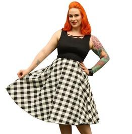 Sleeveless Scoop Neckline Square Prints Retro Circle Skirt Dress