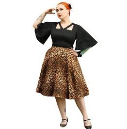V Neckline Half Circle Sleeve Leopard Prints Circle Skirt Rockabilly Dress