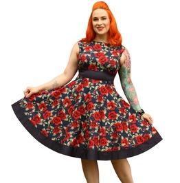 Floral Sleeveless Empire Waist Retro Circle Skirt Dress