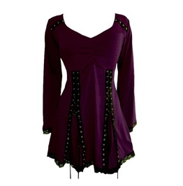 3/4 Flare Sleeve Purple Black Patchwork Double Lace Up Corset Top