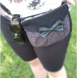 Black And Grey Leoprad Print Bag by Loli. Multifunctional Pouch 3 In 1.