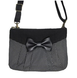 Black And White Little Dots Handbag With Bow. Multifunctional Pouch 3 In 1.