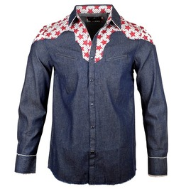 Blue Pocket Red Star Print Patchwork Button Down Frayed Hem Cotton Shirt