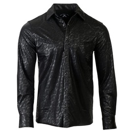 Black Jacquard Pocket Design Iconic Skull Button Down Slim Fit Dress Shirt