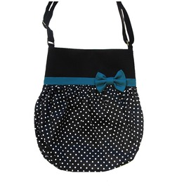 Black White Polka Dots Dark Turquoise Bow Crossbody Tote Bag Loli. Pin-up.