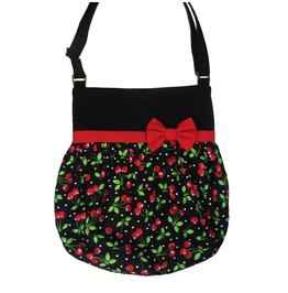 Black Cherry White Polka Dots Red Bow Crossbody Tote Bag Loli. Pin-up.