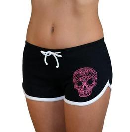 Sugar Skull Black Booty Shorts