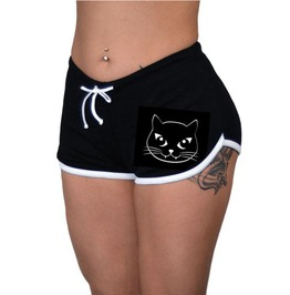 Sexy Black Kittie Front Tie Breathable Gym Work out Slim Waist Booty Short