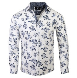 Single Breasted Black White Floral Print Patchwork Slim Fit Cotton Shirt