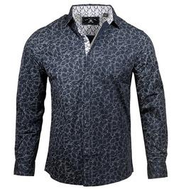 Navy Blue Floral Print Patchwork Button Down Slim Fit Cotton Dress Shirt