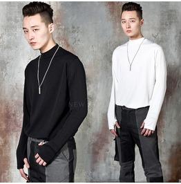 NewStylish Mens Casual Fashion Avant-garde triangle hem turtleneck shirts