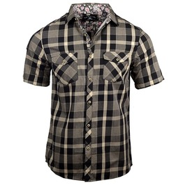 Pin-up Rockabilly Single Breasted Khaki Checked Breast Pockets Short Sleeve Shirt