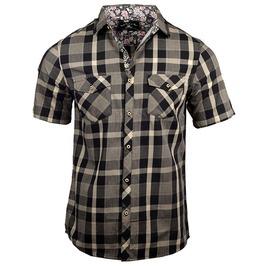 Single Breasted Khaki Checked Breast Pockets Short Sleeve Shirt