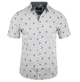 Pin-up Rockabilly Skull Hexagonal Pattern Lapel Collar Short Sleeve Cotton Shirt