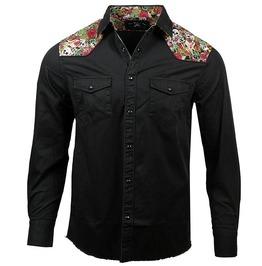 Black Chest Pocket Floral Print Patchwork Button Down Cotton Dress Shirt