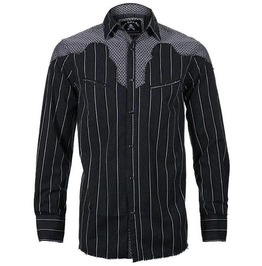 Black Plus Sign Stripe Print Patchwork Button Down Pocket Cotton Shirt