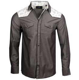 Single Breasted Pocket Skull Print Patchwork Slim Fit Cotton Dress Shirt