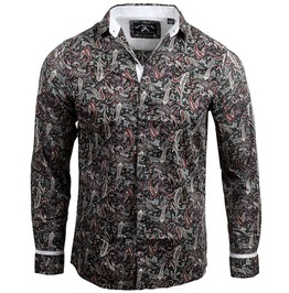 Vintage Retro Single Breasted Paisley Print Contrast Patchwork Slim Fit Cotton Shirt