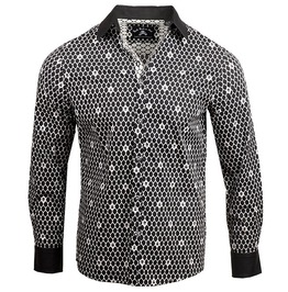 Pin-up Rockabilly Black White Hexagon Skull Print Patchwork Button Up Cotton Dress Shirt