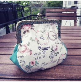 Cream and Pink or Blue Vintage Coin Purse by Loli. Rockabilly. Retro Wallet