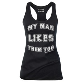 My Man Likes Them Too Letter Print Black Slim Fit Cotton Tank Top