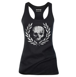 Death Or Glory Print Black Deep U-neck Slim Fit Cotton Tank Top