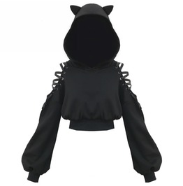 Black Cat Lace Up Gothic Hoodie