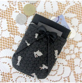 Black and Rabbits Print Pocket Coin Purse By Loli. Rockabilly. Prom Bag.