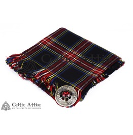"Hand Fringed Traditional Scottish Military Piper KILT FLYPLAID (48"" X 48"")"