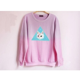 Harajuku Style Fading Color Cat Pattern Hoodie