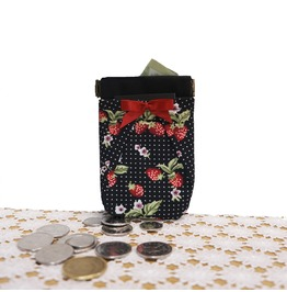 Black Red Strawberry White Polka Dots Pocket Coin Purse By Loli. Rockabilly