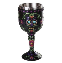 Hand Painted Day Of The Dead Sugar Skull Goblet