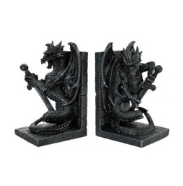 Gray Stone Heraldic Dragon Sword Bookends