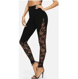 Black Lace Floral Tight Leggings